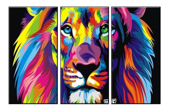 Oferta Cuadros Modernos Leon Multicolor Selva 90x57 Cm N9