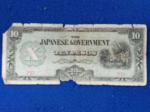 Imagen 1 de 2 de Filipinas 10 Peso 1942 * Ocupacion Japonesa * Guerra Mundial