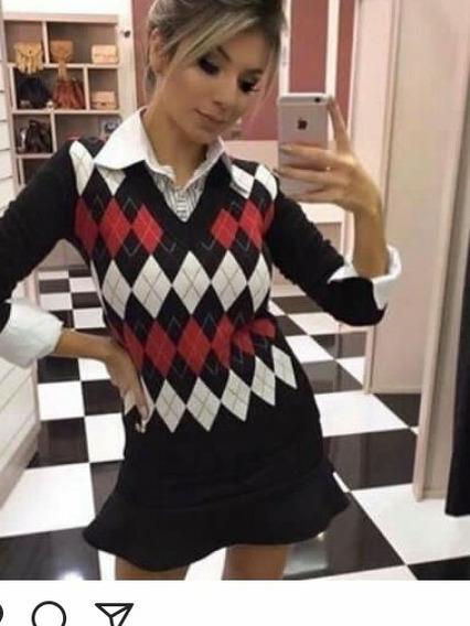Kit 10 Blusas Suéter Feminino Estampa Escocesa Inverno 2019