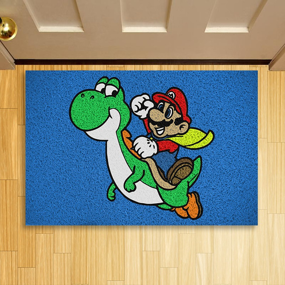 Tapete Capacho Criativo Geek Mario Bros & Yoshi