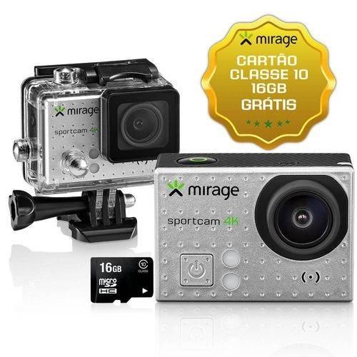 Câmera De Ação Mirage 4k + Cartão 16gb + Bastão + Power Bank