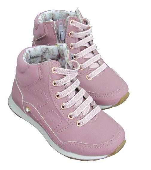 Tênis Cano Alto Infantil Feminino Boot Sapato Bota 20 A 27