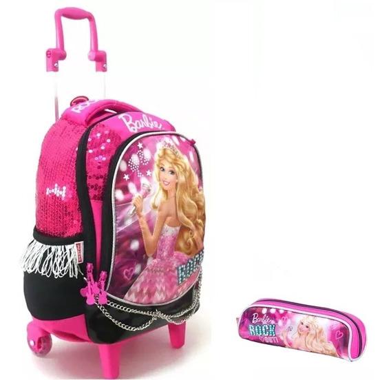 Kit Mochila Escolar Infantil Barbie Rock M Original + Brinde
