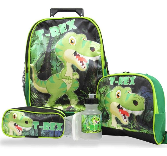 Kit Escolar Infantil Mochila Rodinhas Dinossauro T Rex Tam M