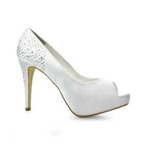 32778dd850 Sapato De Noiva Peep Toe Divalesi - Branco - 86058-c