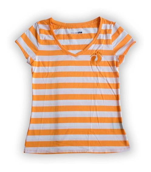 Blusa Hang Ten Mujer Talla L Color Naranja A Rayas