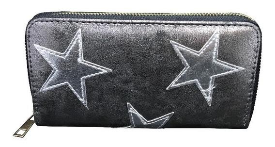 Billetera Metalizada Con Estrellas Ec 2039