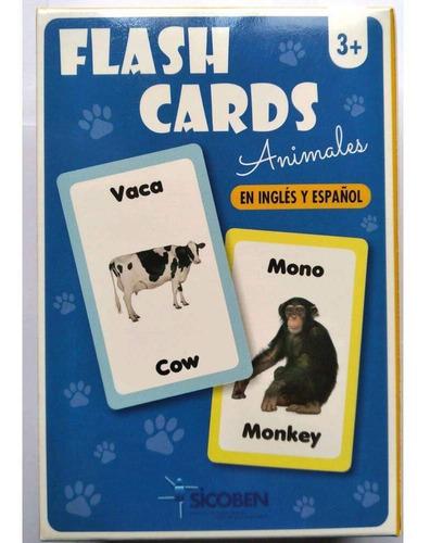 Set De Flash Cards Con Animales - Inglés Y Español