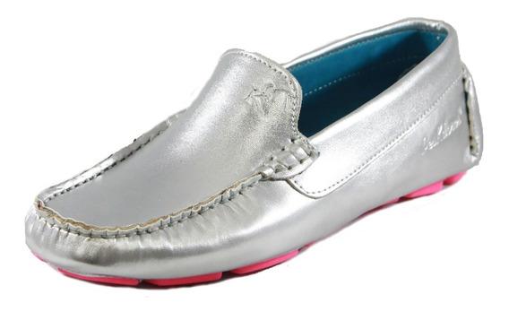 Zapatos Driver Mocasines Peskdores Plateado Pl00090