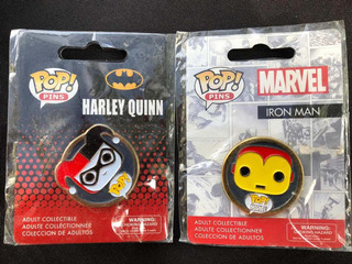Funko Pop Enamel Pins Lote De 2 Harley Quinn Y Iron Man