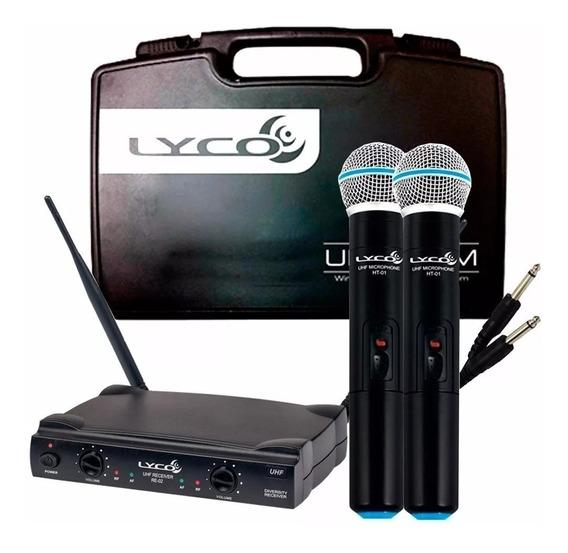 Microfone Sem Fio Duplo De Mão Lyco Uhf Uh02mm Profissional