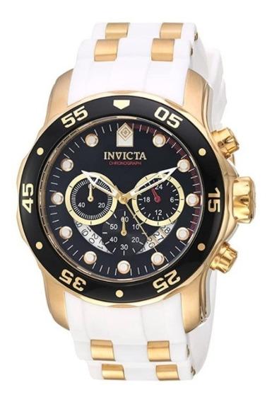 Relógio Invicta Pro Diver Branco Dourado 18k Ouro 20289