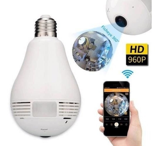 Câmera Lampada Espiã 360º Graus Com Audio Video Via Celular