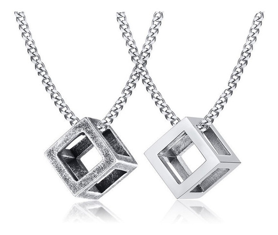 Collar Geométrico Cubo Hombre Acero Inox ,kpop,trendy,hiphop