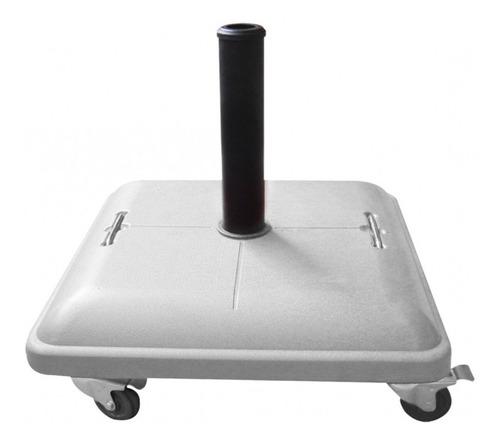 Base Para Ombrellone Em Concreto Com Rodas 37kg Branco - Bel