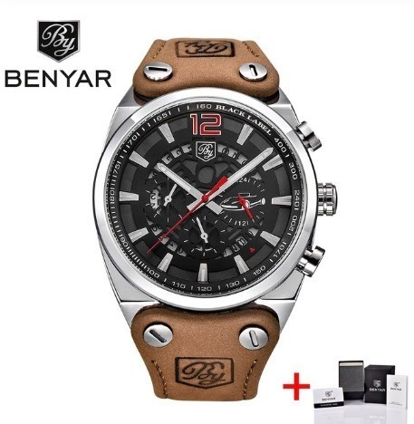 Relógio Benyar Prata/verm Masculino Luxo Esportivo Analógico