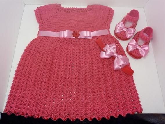 Kit De Vestido + Sapatinho + Tiara Rosa De Croche