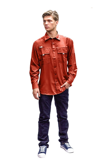Camisas Ke Manga Larga Terracota Hombre #cl09-2743
