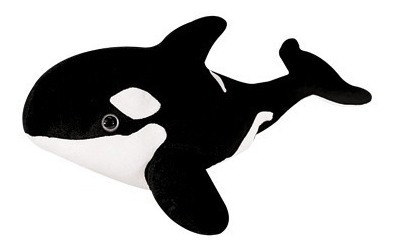 Baleia Pelucia Preta Branca 65cm Do Mar Lavavel Antialergico
