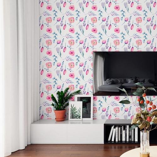 Papel De Parede Adesivo Flores Rosa E Roxo N06180 Rolo De 0,