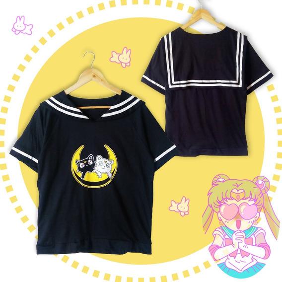Remera Seifuku Sailor Moon Luna & Artemis Calidad Premium.