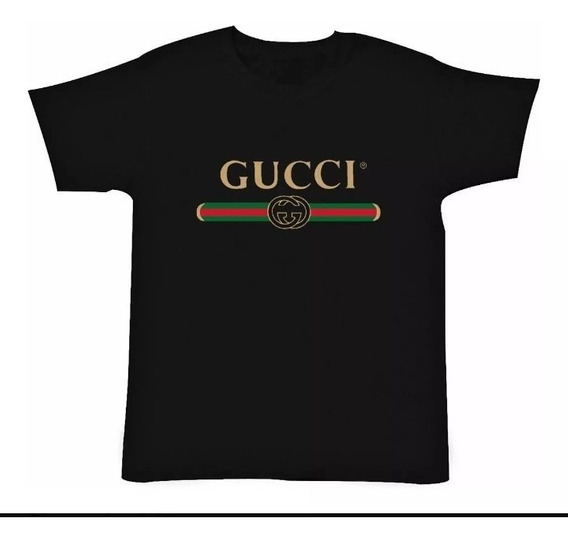 Playera Gucci De Hombre De Color Negro Clon Logo Clásico
