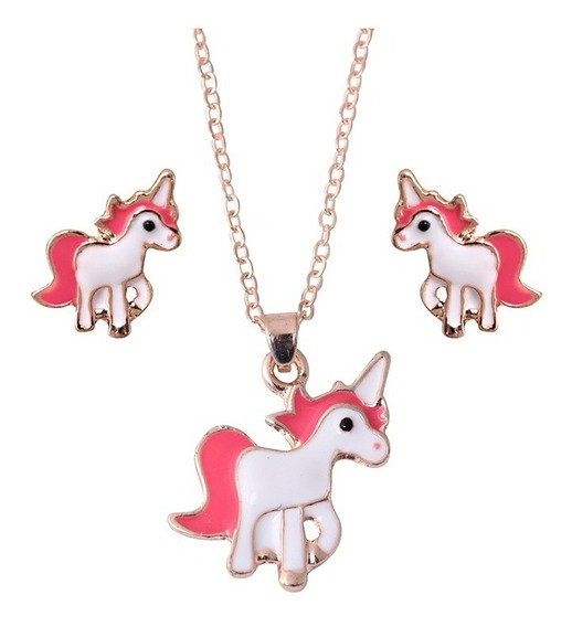 Collar + Aritos De Unicornio. Cajita De Regalo Incluida