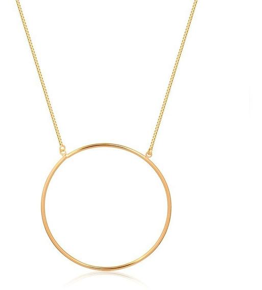 Cordão Feminino Pingente De Circulo 50cm - Dourado
