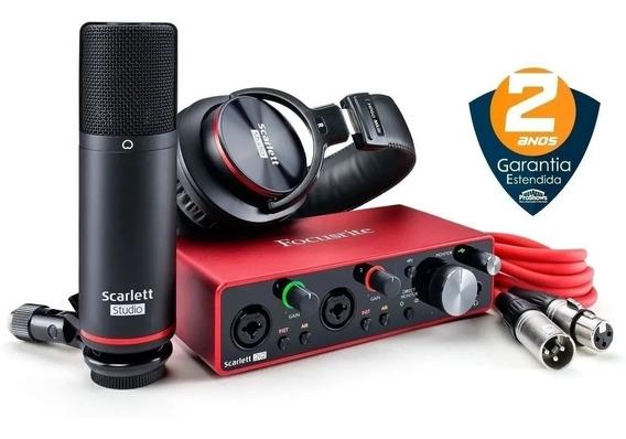 Kit Home Studio Scarlett 2i2 Studio - 3a Geração - Focusrite