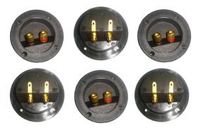 6 Borne Redondo Para Caixa Acústica Com Conector Banhado