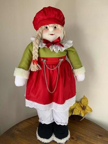 Imagem 1 de 8 de Mamãe Noel Em Tecido 68cm Natal
