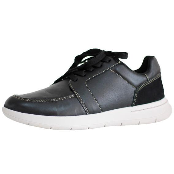 Sapato Tênis Masculino Couro Preto Usaflex Conforto 9802