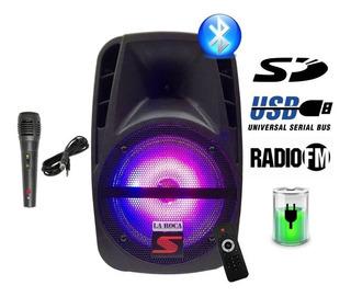 Bafle Karaoke 8 Bluetooth Usb Bateria Luces Usb Control Mic