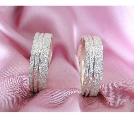 Alianças Namoro Prata Diamantadas 6mm 12g