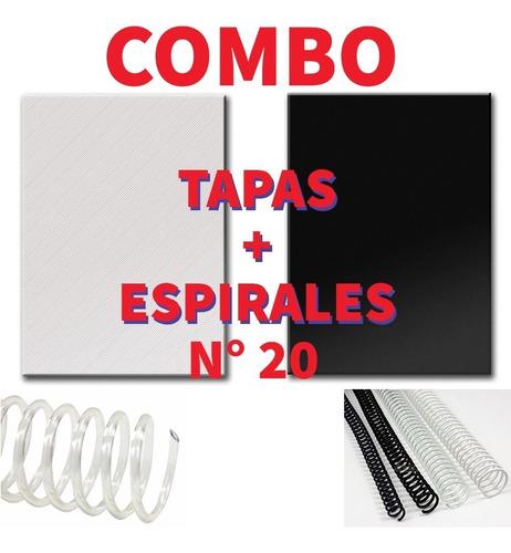 Combo 50 Espirales 20 Mm + Tapas A4 / 50 Negras + 50 Transp