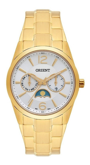 Relógio Orient Feminino Dourado Moon Fgssm056 S2kx