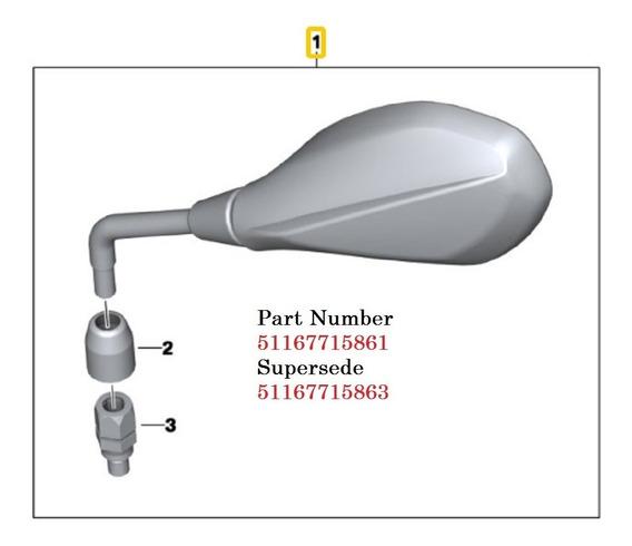 Retrovisor Esquerdo Moto Bmw S1000 R / F700 Gs -2006 À 2018