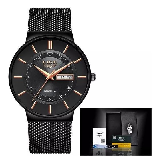 Relógio Masculino Lige Luxo Slim Casual Promoção Original