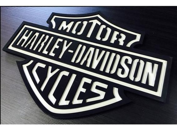 Placa Decorativa Quadro Entalhado Em Madeira Harley Davidson