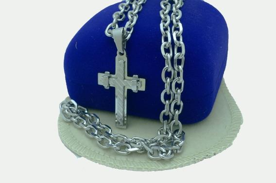 Corrente 100% Aço Inoxidável + Pingente Crucifixo