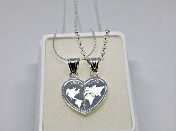 Collar Plata 925 Corazón Pareja 14 Amor Novios Eres Mi Mundo