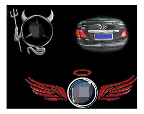 Sticker Emblema Ángel + Diablo Para Marca De Carro