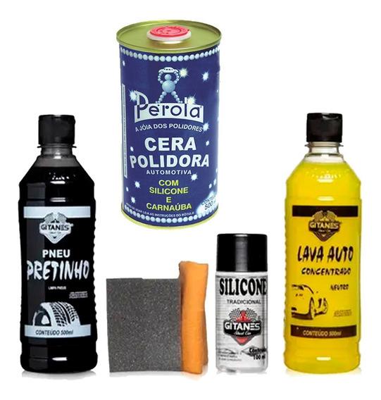Kit Pneu Pretinho +shampoo +cera +silicone Gel + Cera Perola
