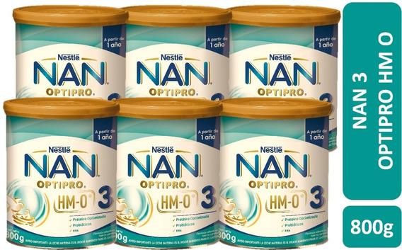 Leche Nan 3 Opti-pro® Con Hmo 800g Pack X6 Tarros