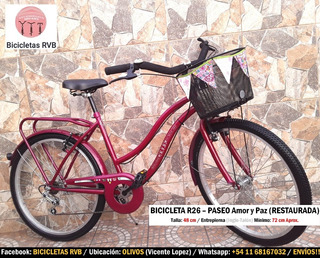 Bicicleta Rodado 26. Paseo Amor Y Paz. 5 Veloc. Restaurada.