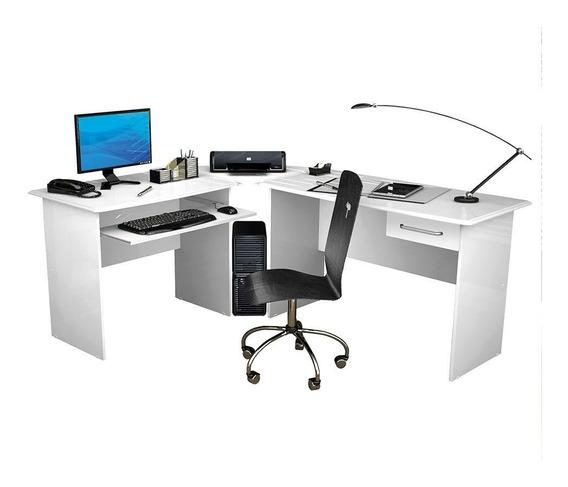 Mesa Para Computador Escrivaninha Completa Trabalho Branca