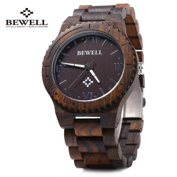 Bewell Zs - W065a Madeira Homens Relógio Quartzo Romano Nume