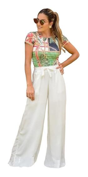 Pantalona Cinto De Tecido Social Forro Não Transparente Moda