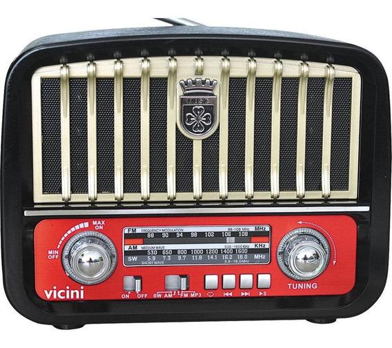 Rádio Retrô Portátil Vicini Am/fm/sw Com Entradas Mp3, Us