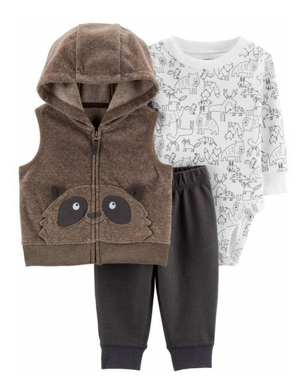 Set 3 Piezas Carter´s Rn Y 12 Meses Raccoon Little Vest